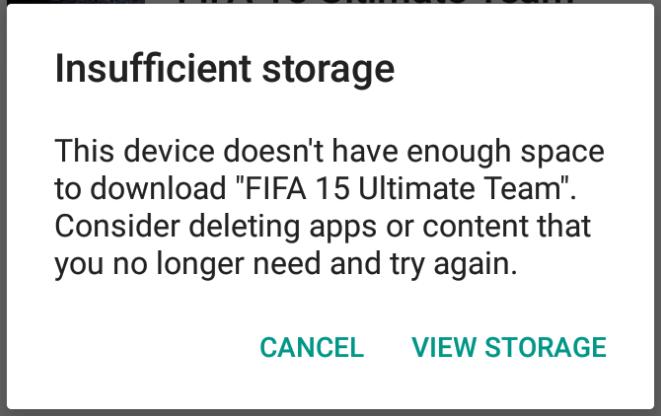 Tidak Cukup Tersedia Penyimpanan di android