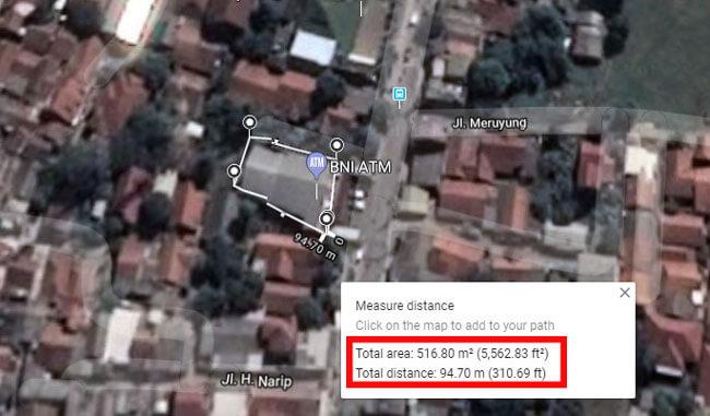 mengukur jarak di Google maps android